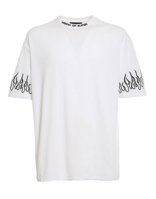 TSHIRT EMBROIDERED BLACK FLAME