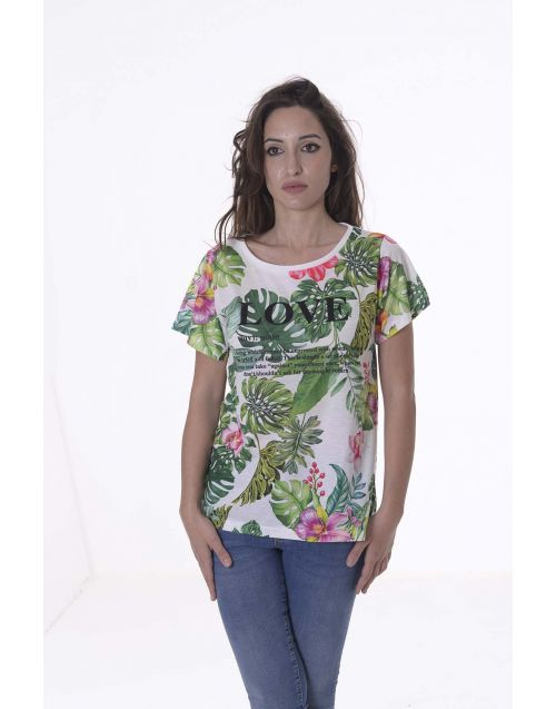 T-Shirt Fracomina con stampa tropicale