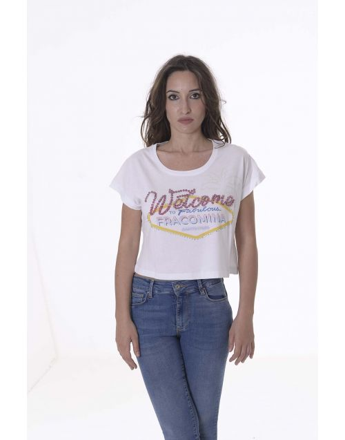 T-shirt Fracomina cropped con stampa frontale
