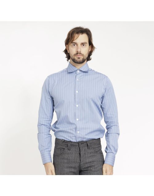 Gregory Downing Tum shirt with white and blue stripes